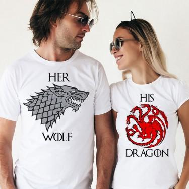 Set Tricouri - Her wolf& His dragon