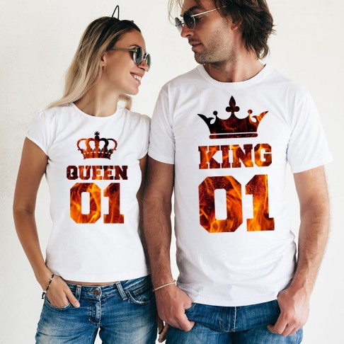 Set Tricouri - King & Queen cu textura
